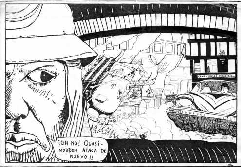 Otra ifluencia de Moebius. El edificio negro (centro cívico) al fondo. Quasimoddoh ataca de nuevo.