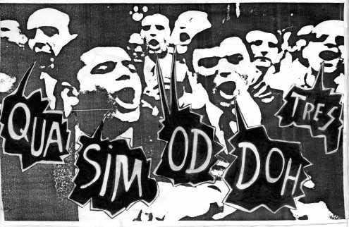 Un fotomontaje cañero. Una manifestación reivindicando el Qua Sim Od Doh Tres. Un poco politizado.