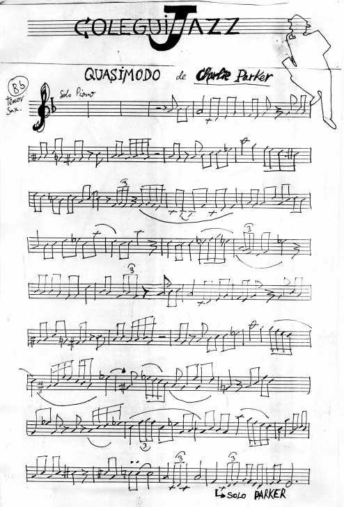 """ColeguiJazz.  la partitura del tema de Charlie Parker en honor a nuestro fancine """"Quasimodo"""""""