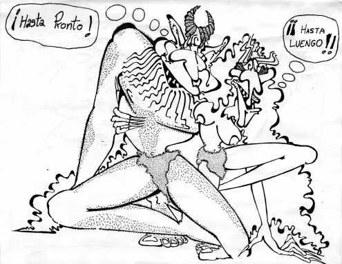 Una despedida amorosa de dos dioses / demonios cachondotes, retratados por Juanillo.