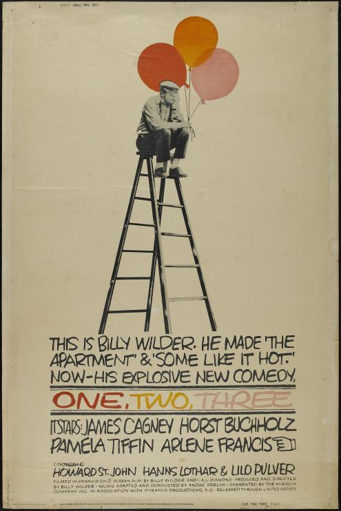 Cartel con Billy Wilder en una escalera con los globos que se convertirían en un simbolo de la película.