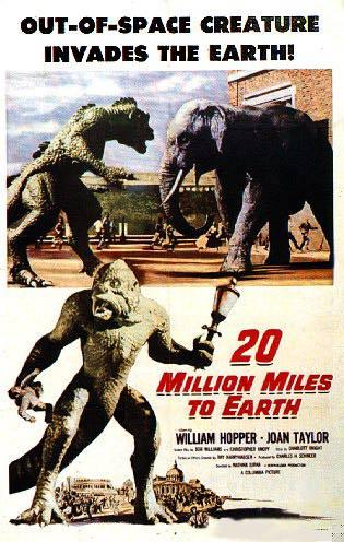"""Cartel de """"20 millions miles to Earth"""" de 1957, con la famosa escena de la pelea entre el monstruo y el elefante."""