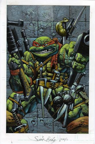 Una portada para las Tortugas Ninja. Cargado de armas para aplciar una violencia tortuguera sin límites.