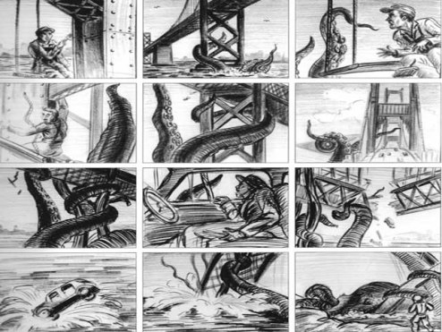 "Story Board de una escena de ""It came from beneath the sea"". El pulpo gigante asola el puente Golden Gate de San Francisco."