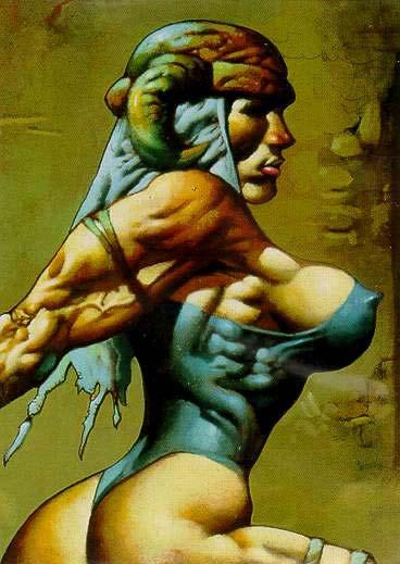 El gusto por Simon Bisley por las mujeres musculosas y de curvas rotundas salta a la vista en este perfil.
