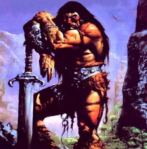 Una portada para Conan el bárbaro. Refuerza el salvajismo del personaje creado por Robert E. Howard.