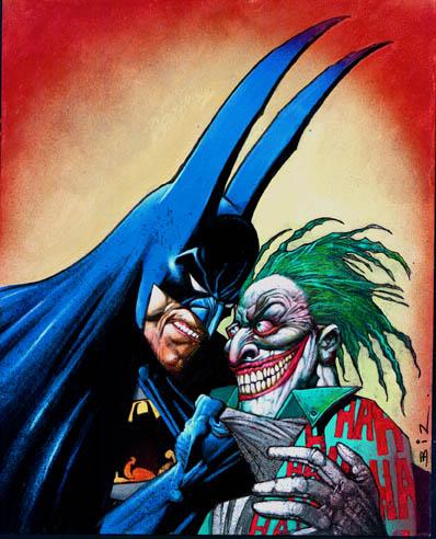 Un Batman de orejas puntiagudas interroga a un Jocker más loco que una cabra.