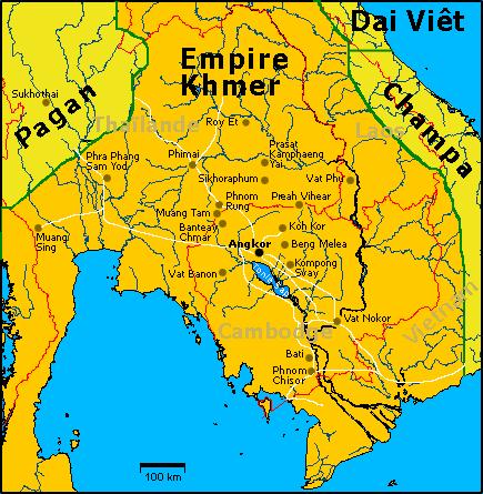 Mapa francés del imperio Khmer.