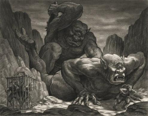 """Batalla de cíclopes. Dibujo utilizado por producción para la película """"Simbad y la Princesa"""" de 1958."""