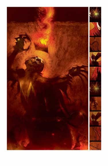 Ben Templesmith dibujó entre otras las series de Hell Spawn, donde dota a la historia de la atmósfera infernal que le caracteriza.