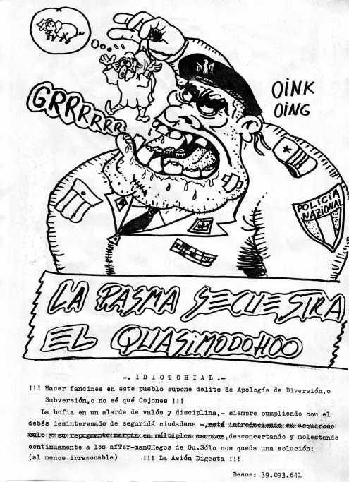 Un polizia Nazional a punto de comerse al Quasimoddoh. Un genial dibujo del travieso de Luis.