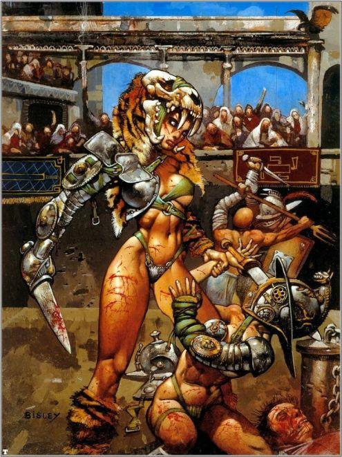 Peleas de galdiadores, según Simon Bisley. El erotismo y la sangre asegurados.