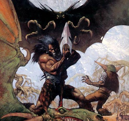Slaine y Ukko, el enano que escribirá sus memorias, tras dar muerte al dragón fantasma.
