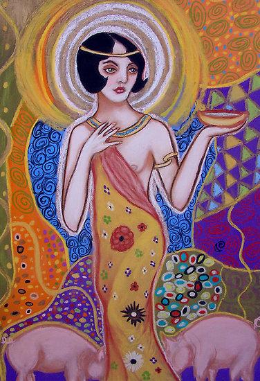 Colofon: Una deliciosa imagen de Circe ofreciendo su copa, de la artista americana MoonSpiral e inspirada en Klimt.