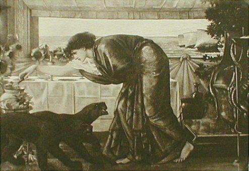En este cuadro de Burne Jones (1836-1869), los barcos de Ulises aparecen en lontananza, mientras Circe vierte el veneno.