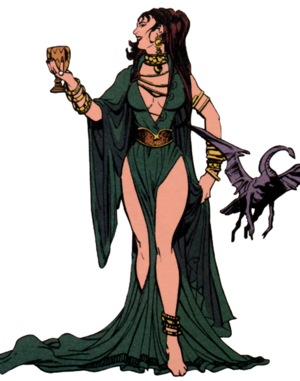 La bruja Circe y un animal metamorfoseado. Dibujado por George Pérez para interpretar a la villana Circe, enemiga de wonder woman, para DC Comics.