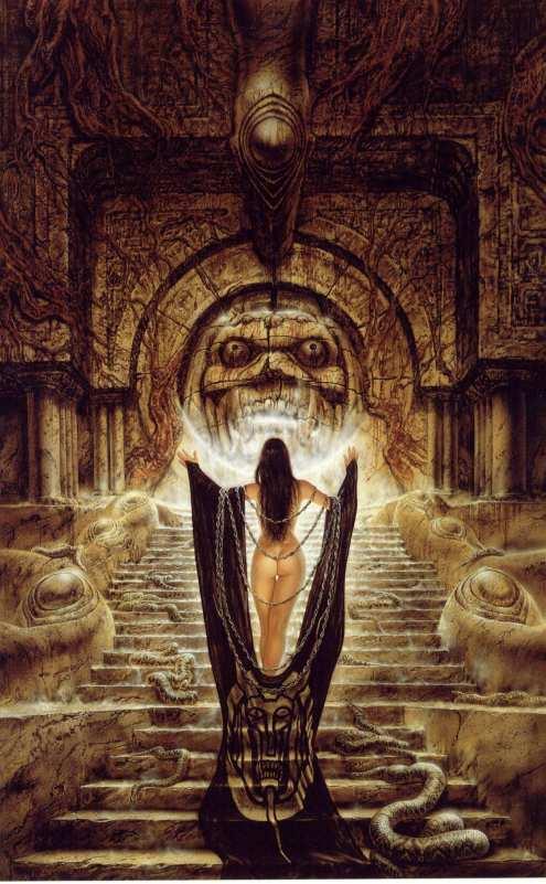 Otra representación de la bella hechicera, esta vez ante el templo fortaleza subterraneo de Warduke, un poderoso guerrero humano, protagonista de alguna de las sagas de Dungeons & Dragons.