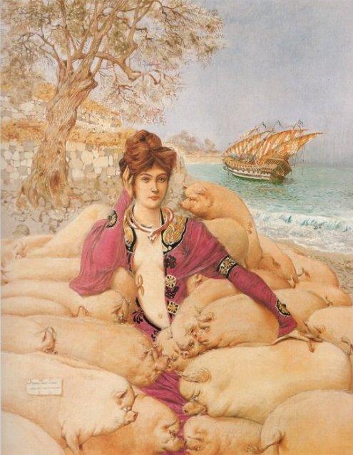 En este cuadro titulado Circe (1904) del pintor simbolista francés  Adolphe Mossa (1883-1971) aparece la bella maga rodeada de cerdos limpios y lustrosos.