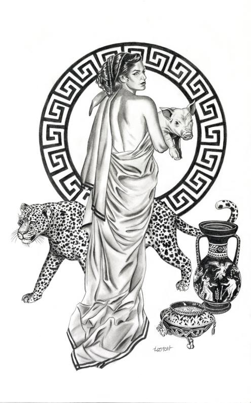 El dibujante de cómic americano freelance, Loston Wallace, nacido en 1970 muestra en esta obra su visión de la bella hechicera Circe.