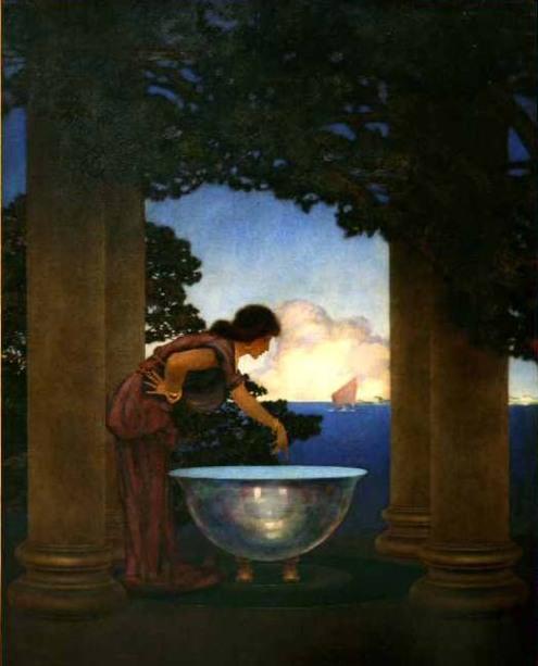 El pintor e ilustrador americano Maxfield Parrish (1870-1966) realizó esta ilustración titulada Circe's Palace en 1907. Circe prepara su poción mientras divisa los barcos de Ulises acercarse a Ea.