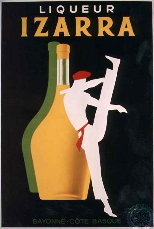 Un dantxari anuncia  el licor Izarra originario del país vasco francés.