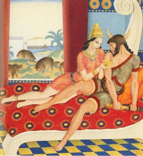 Edmund Dulac (French, 1882-1953) pintó este Circe y Ulises en 1910. Circe intenta seducir a Ulises, ofreciéndole el bebedizo, pero la planta mágica moly evita la metamorfosis y Ulises echa mano de su espada.
