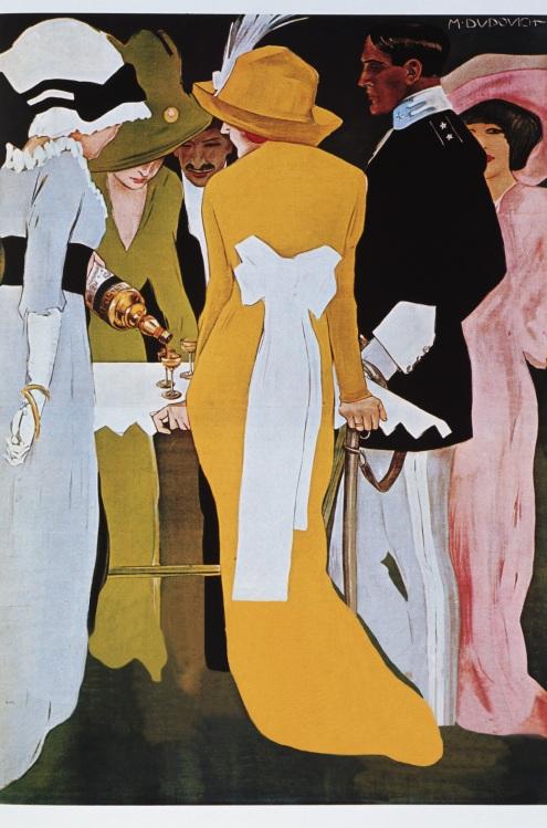 Un elegante cartel para un anuncio de un tónico aperitivo. A juzgar por los vestidos de las damas y el uniforme del caballero, debe ser una aperitivo de clase alta.