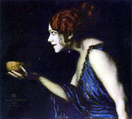 El pintor, escultor, grabador y arquitecto simbolista y art nouveau, Franz von Stuck (1863-1928) también se inspiró en Circe, que seductora ofrece su brebaje.