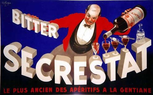 Un conseguido anuncio de Bitter y un dinámico camarero sirviéndolo.