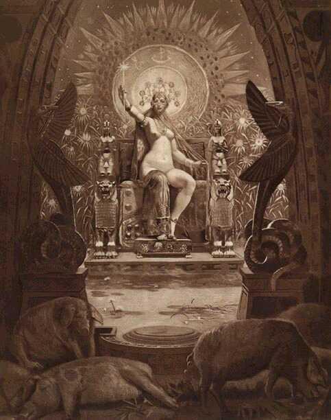 La hija del Sol, Circe en su trono de oro según la visión del parisino Louis Chalon (1866-1940), que la muestra con una belleza sin igual en la gran sala de su maravilloso palacio.