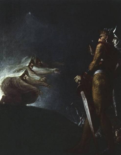 Macbeth y Banquo con las Brujas por Johann Heinrich Füssli.