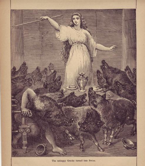 Una ilustración de autor desconocido (por el momento) que muestra a Circe con su vara mágica convirtiendo a los hombres de Ulises en cerdos inteligentes.