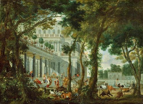 Pintura de Wilhem Schubert von Ehrenberg (1630-1676) que muestra el palacio y los jardines de Circe, repletos de animales.