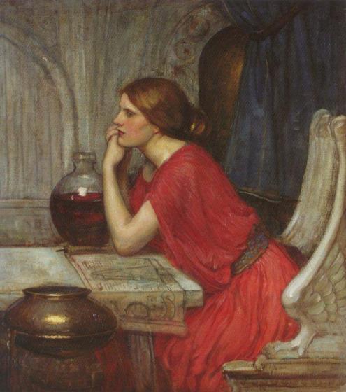 El pintor británico John William Waterhouse (1849-1917) se inspiró en Circe repetidamente. En esta ocasión muestra a la bella hechicera pensativa y estudiosa.