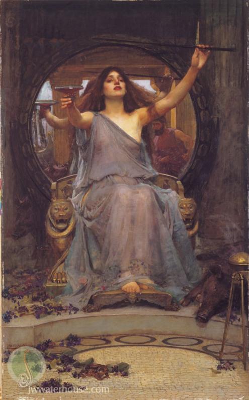 Esta obra de Waterhouse es su más famosa obra, de 1891. La poderosa Circe ofrece la copa a Ulises, que se ve reflejado en el espejo detras de la hechicera.