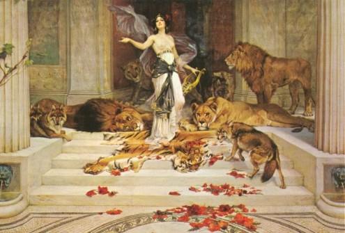 En esta pintura de 1900, el artista inglés Wright Barker (1864-1941) representa a Circe dando la bienvenida a su palacio de marmol pulido.