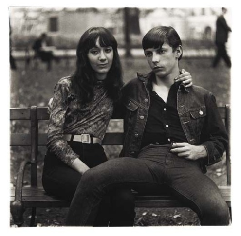 Young Couple on a bench in Washington Square Park, NYC 1965